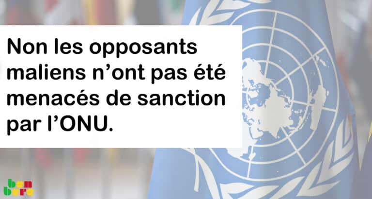 #Benbereverif: non, les opposants maliens n'ont pas été menacés de sanction par l'ONU