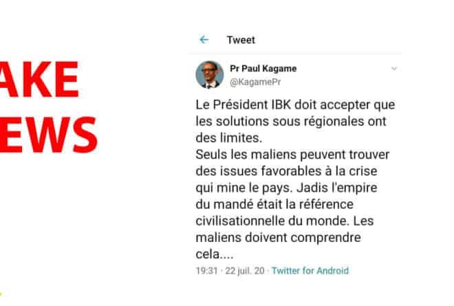 #BenbereVerif : Non, ces propos sur le Mali ne sont pas de Paul Kagamé
