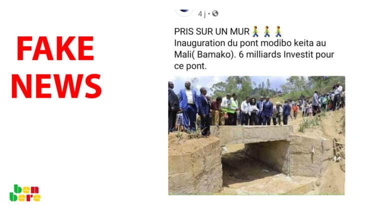 #BenbereVerif : cette photo ne montre pas l'inauguration d'un pont au Mali