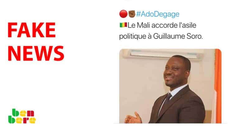 #BenbereVerif: le Mali n'a pas accordé l'asile politique à Guillaume Soro