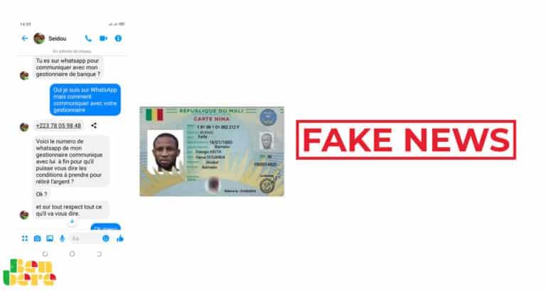 #BenbereVerif : cette fausse demande de paiement d'argent ne vient pas de Seydou Keïta