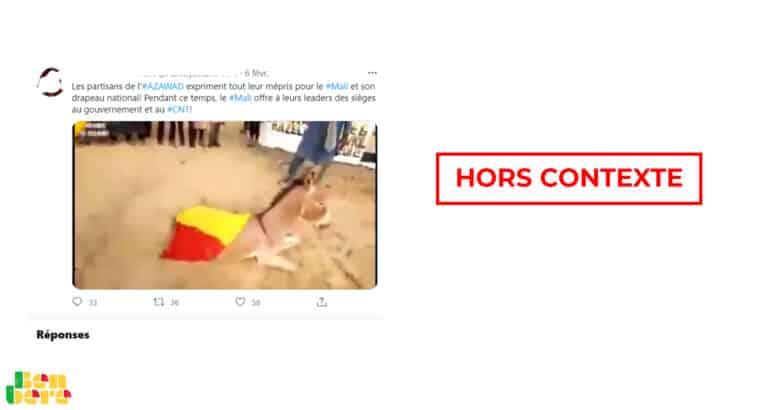 #BenbereVerif : cette vidéo du drapeau malien enfilé sur un âne date d'août 2019