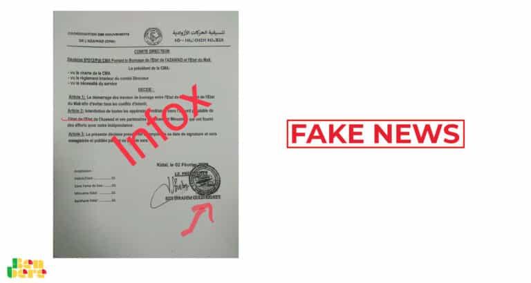#BenbereVerif: non, ce document n'est pas de la CMA