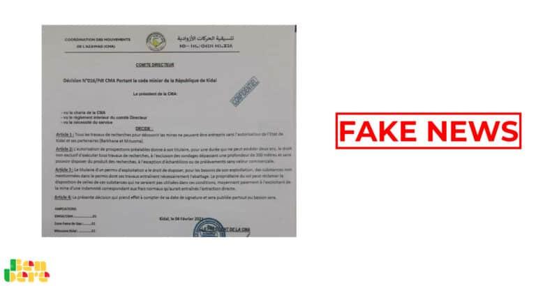 #BenbereVerif : la CMA dément être à l'origine de ce document