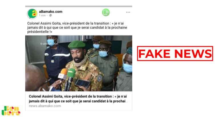 #BenbereVerif : Assimi Goïta n'a pas déclaré qu'il ne sera pas condidat à la prochaine élection présidentielle