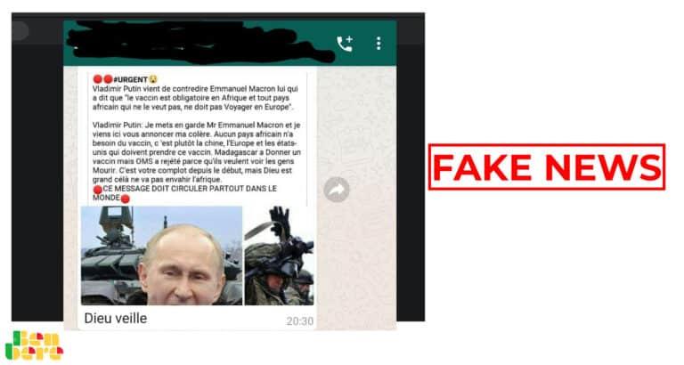 #BenbereVerif : Poutine n'a pas adressé des mises en garde à Macron concernant le vaccin anti-Covid en Afrique
