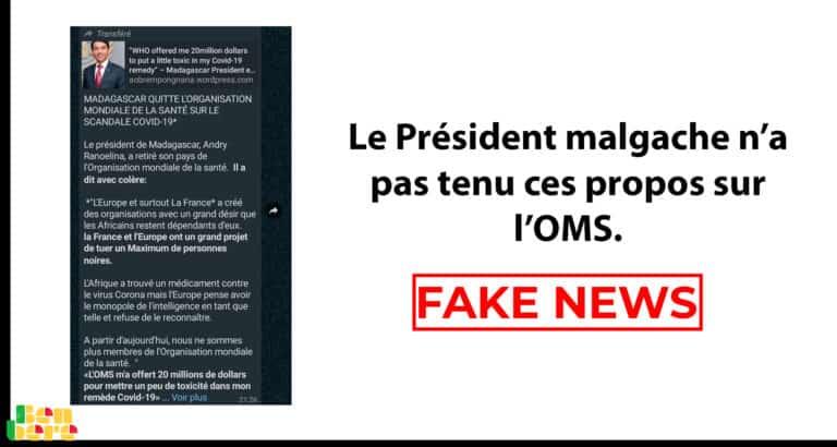 #BenbereVerif – Covid-19 : le président malgache n'a pas tenu ces propos sur l'OMS