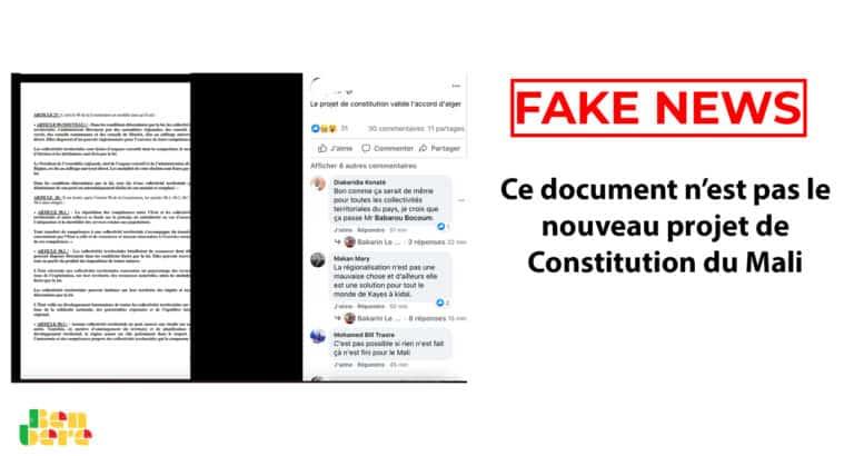 #BenbereVerif : ce document n'est pas le nouveau projet de Constitution du Mali