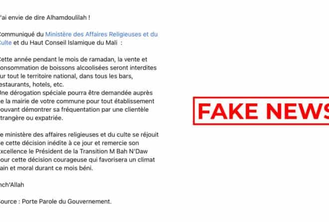 #BenbereVerif : le gouvernement malien n'a pas interdit les boissons alcoolisées pendant le ramadan