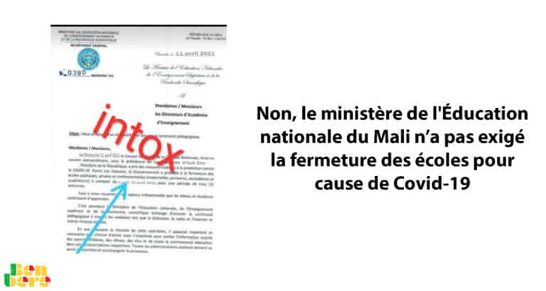 #BenbereVerif– Non, le ministère de l'Éducation nationale du Mali n'a pas exigé la fermeture des écoles pour cause de Covid-19