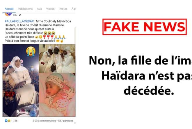 #BenbereVerif– Non, la fille de l'imam Haïdara n'est pas décédée