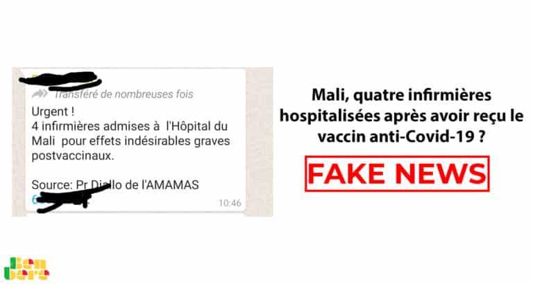 #BenbereVerif : au Mali, quatre infirmières hospitalisées après avoir reçu le vaccin anti-Covid-19 ? Précisions