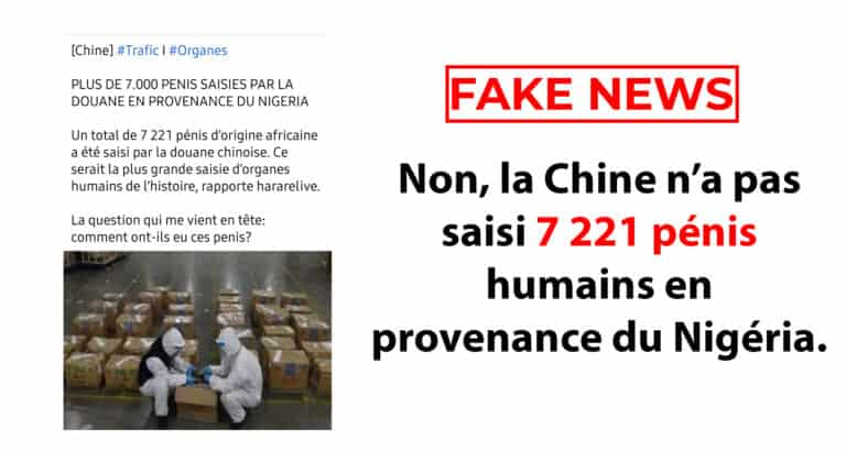 #BenbereVerif– Non, la chine n'a pas saisi 7 221 pénis humains en provenance du Nigéria