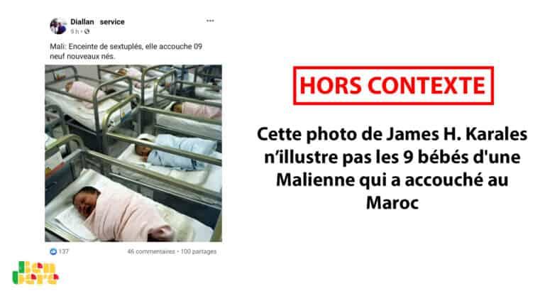 #BenbereVérif : cette photo de James H. Karales n'illustre pas les 9 bébés d'une Malienne qui a accouché au Maroc