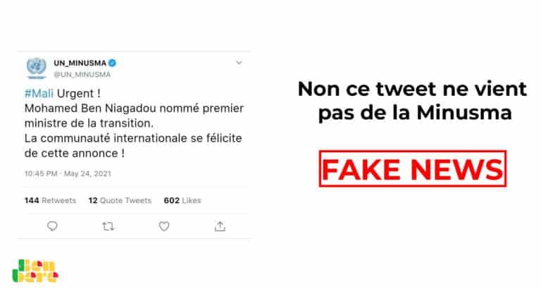 #BenbereVerif : faux, ce tweet n'est pas de la MINUSMA