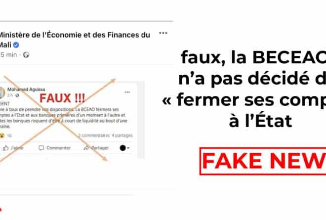 #BenbereVerif-Mali: faux, la BCEAO n'a pas décidé de « fermer ses comptes à l'État »