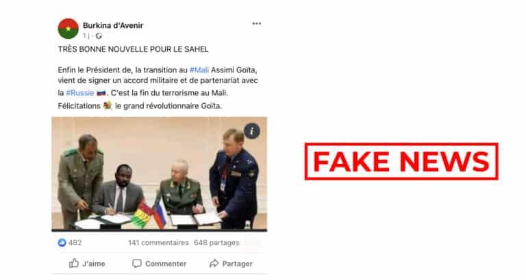#BenbereVerif : Assimi Goïta n'a pas signé d'accord militaire avec la Russie
