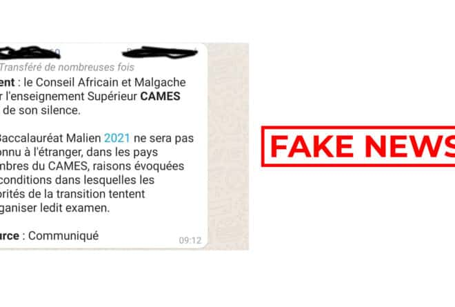 #Benbereverif : non, le Cames n'a pas refusé de reconnaître le baccalauréat malien