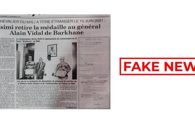 #BenbereVerif : non, Assimi Goïta n'a pas « retiré » de médaille au général français Alain Vidal
