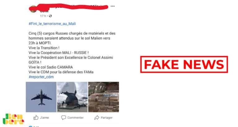 #BenbereVerif : non, ces photos ne montrent pas l'arrivée des avions-cargos russes à Mopti